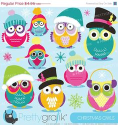 christmas owl clip art free | christmas owls clipart commercial use vector graphics digital clip art ...
