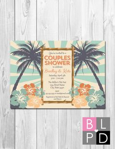 Hey, I found this really awesome Etsy listing at https://www.etsy.com/listing/221193965/luau-couples-shower-invitation-bridal