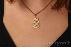 Ankh Necklace, Gold Necklace, Small Snakes, Branded Gifts, Women Jewelry, Unique Jewelry, Gold Filled Chain, Gold Pendant, Snake Skin