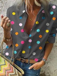 2020 Spring Women Bohemia Dot Print Blouse Pull Blusas Casual Tops Ladies Shirt Chemisier Femme Plus Size Hawaiian Shirt – fashion Half Sleeves, Types Of Sleeves, Polka Dot Shirt, Polka Dots, Casual T Shirts, Casual Tops, Casual Wear, Casual Outfits, Printed Blouse