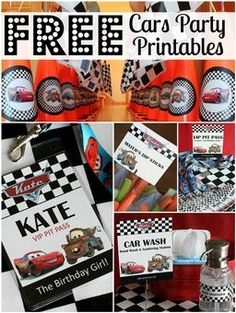 FREE Cars Birthday Party Printables - All Things G&D