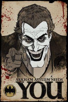 Joker Needs You - Arkham Asylum, Arkham Knight, Gamers, Games, Video Games, Decoration, Gifts, Birthday, Wall Decor, Batman, The Dark Knight 24x36 Poster