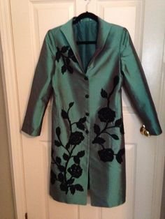Yaly Teal w Black Applique Women's Small Elegant Stylish Coat | eBay