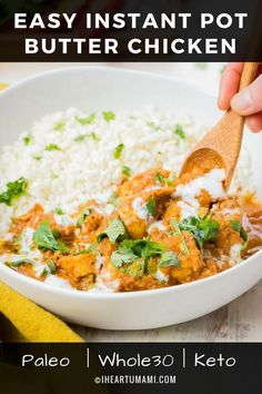 Paleo Instant Pot Butter Chicken w/ gluten-free dairy-free coconut milk cream. This Keto & Instant Pot Butter Chicken recipe is easy and cook time. Use chicken thighs or breasts for the most easy flavorful Paleo Instant Pot recipe ! Instant Pot Butter Chicken Recipe, Butter Chicken Sauce, Poulet Keto, Sem Gluten Sem Lactose, Instant Pot Dinner Recipes, Pressure Cooker Recipes, Whole 30 Recipes, Dairy Free, Gluten Free