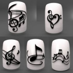 Added these new music inspired nail designs last night.⠀ Visit the website for more like it. Always adding more so pl… - Top Trends Funky Nail Art, Funky Nails, Easy Nail Art, Cool Nail Art, Love Nails, Pretty Nails, My Nails, Music Note Nails, Music Nail Art