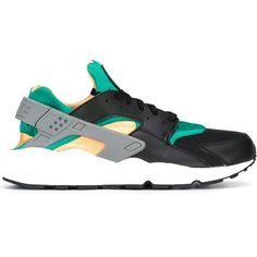 Nike 'Air Huarache Run' sneakers ($136) ❤ liked on Polyvore featuring men's fashion, men's shoes, men's sneakers, black, mens black sneakers, mens running shoes, mens running sneakers, mens black leather sneakers and mens leather lace up shoes