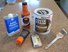 "How to paint furniture without sanding (including laminate) What you will need: Zinsser Cover Stain oil-based primer Floetrol paint conditioner Paint thinner Elmer's wood filler 2"" angled brush (Purdy) Sanding block (fine, medium,coarse) Paint Minwax water-based Polycrylic or Varathane water-based polyurethane Screw driver Tack cloth or lint free rag for wiping/dusting"