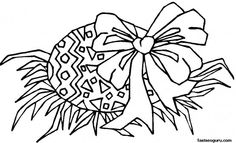 Printable Easter Egg With Bow Coloring Page - Printable Coloring Pages For Kids
