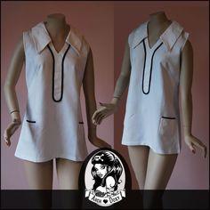 Ending Soon - Vintage 1960s MOD Micro Mini White Cotton Dress.     http://www.ebay.co.uk/itm/Vintage-1960s-MOD-Micro-Mini-Waffle-White-Dress-Navy-Patch-Pocket-Tunic-UK10-/371525210941?ssPageName=STRK:MESE:IT