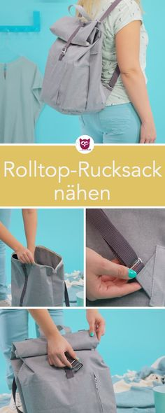 from the -Rolltop Backpack sew on .- aus dem –Rolltop Rucksack nähen aus Outdoorstoff m… from the -Rolltop backpack sewing made of outdoor fabric with zipper. Sewing pattern and sewing instructions of DIY owl. Diy Bags No Sew, Roll Top, Diy Backpack, Backpack Pattern, Shoulder Strap Bag, Clothes Crafts, Outdoor Fabric, Leather Craft, Scrappy Quilts