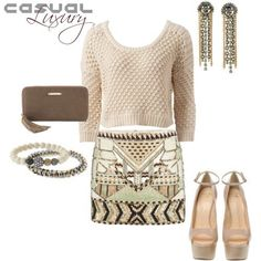 I love the idea of mixing textures.. the softness of a sweater paired with edgy metal jewelry over an eye-catching sequined skirt! The Stella & Dot Vintage Twist Bracelet, Revival Bracelet, Mercer Wallet, and gorgeous Cleo Fringe Earrings are what tie this whole outfit together! www.stelladot.com/SheaWindley