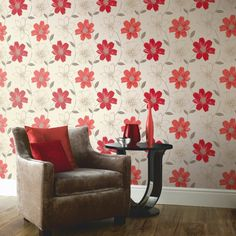 Arthouse Samba Motif Wallpaper - Red and Gold - http://godecorating.co.uk/arthouse-samba-motif-wallpaper-red-and-gold/