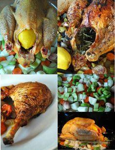 Poulet_roti_facon jamie oliver - par contre début cuisson à froid - à 180 °C