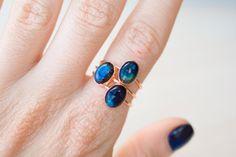 Labradorite anello portafortuna di labradorite blu anello