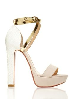 @1343 Christian Louboutin Summerissima Crisscross Platform Sandal in Gold and White