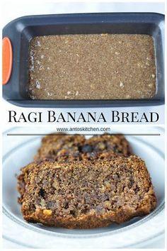 Ragi banana walnut bread is an easy and healthy banana bread with millet flour and oats. It is a sweet and moist vegan banana bread recipe. Ragi Recipes, Healthy Cake Recipes, Healthy Snacks For Diabetics, Sweets Recipes, Healthy Baking, Baking Recipes, Desserts, Diabetic Snacks, Jaggery Recipes