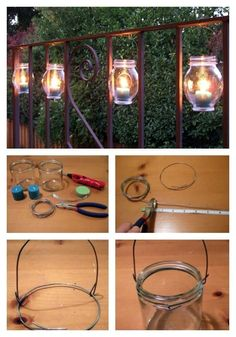 Just create little wire hangers for your jars and hang them on the railing or balcony. A full tutorial is here. #LandscapingLighting
