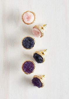 Return to Throne Earring Set in Treasure Tones - Multi, Gold, Work, Casual, Cocktail, Boho, Gold, Variation