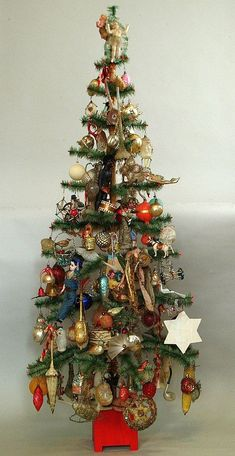 German Feather Tree with all kind of old ornaments, | Vintage ...