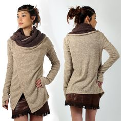 Shawl Witch \Adrika\, Beige marron