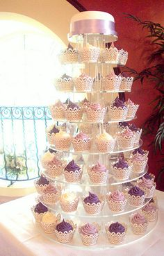 Purple and Lilac Wedding Cupcake tower Purple Wedding Cakes, Wedding Cake Photos, Lilac Wedding, Amazing Wedding Cakes, Our Wedding, Dream Wedding, Lavender Weddings, White Weddings, Trendy Wedding