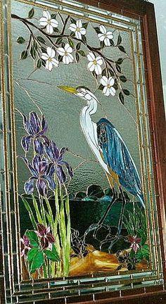 Great Blue Heron Bird Window- combines my favorite bird and favorite flower!!