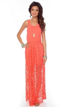 Coral lace maxi dress <3