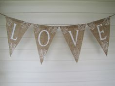 Items similar to LOVE.A word of Inspiration, Wedding Burlap Banner on Etsy Burlap Projects, Burlap Crafts, Cool Diy Projects, Diy And Crafts, Shabby Chic Crafts, Fabric Ribbon, Felt Hearts, Craft Sale, Creative Thinking