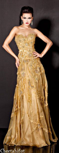 """JOVANI - Gold Gown #gowns,✮✮Feel free to share on Pinterest"""" ♥ღ www.FASHIONANDCLOTHINGBLOG.COM"""