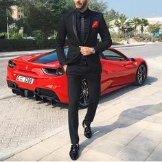 Black suit and Red #Ferrari - perfect combo by @sambenzema [ www.RoyalFashionist.com ]