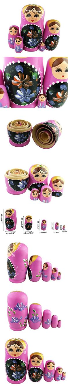 Set of 5 Blonde Girl Blue Red Flower Pink Wooden Nesting Dolls Matryoshka Russian Doll Popular Handmade Stacking Toys Kids Gifts Christmas New Year Home Decoration