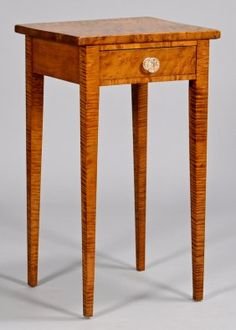 Tiger Maple One Drawer Stand : Lot 294