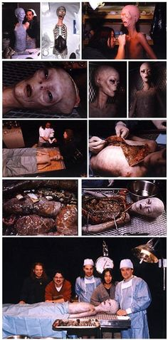 This recreation of Ray Santilli's Alien Autopsy was produced by SFX professionals Steve Johnson and Trey Stokes. It was featured on the American TV show (ABC, April Just to show how easily it is to fake a photo nowadays. Paranormal, Aliens And Ufos, Ancient Aliens, Area 51, The Americans Tv Show, Terre Plate, Alien Photos, Pseudo Science, Unexplained Mysteries