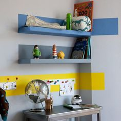 Go-faster shelf stripes in child's room | Budget children's room design ideas | PHOTO GALLERY | Ideal Home | Housetohome.co.uk