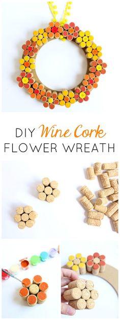 Love this wine cork craft idea - a pretty fall flower wreath!