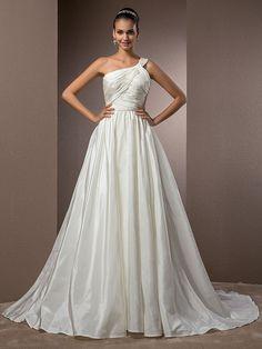 Lan Ting A-line/Princess Plus Sizes Wedding Dress - Ivory Court Train One Shoulder Taffeta - USD $119.99