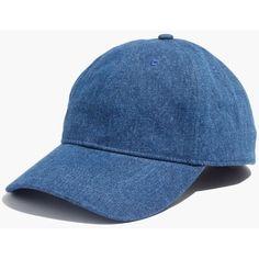 MADEWELL Denim Baseball Cap ($25) ❤ liked on Polyvore featuring accessories, hats, denim, denim hat, denim baseball cap, baseball cap, baseball hat and denim baseball hat