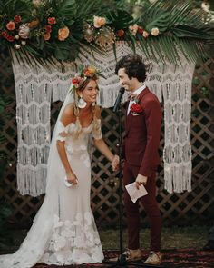 Image may contain: one or more people, people standing and wedding via Wedding Looks, Perfect Wedding, Dream Wedding, Boho Wedding Dress, Bridal Dresses, Bridesmaid Dresses, Hipster Wedding, Wedding Groom, Wedding Attire