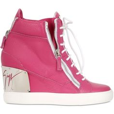 GIUSEPPE ZANOTTI 90mm Tumbled Leather Wedge Sneakers ($501) ❤ liked on Polyvore featuring shoes, sneakers, fuchsia, wedge sneaker shoes, wedges shoes, wedge heel shoes, leather sneakers and leather trainers