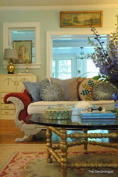 vintage sofa + gold accents
