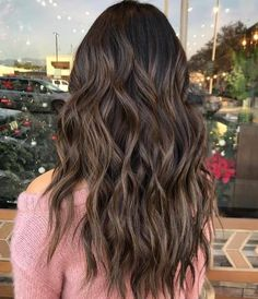 Long Wavy Ash-Brown Balayage - 20 Light Brown Hair Color Ideas for Your New Look - The Trending Hairstyle Hair Color For Black Hair, Brown Hair Colors, Brown Hair Balayage, Hair Highlights, Color Highlights, Long Wavy Hair, Wavy Lob, Curly Hair, Hair Ponytail