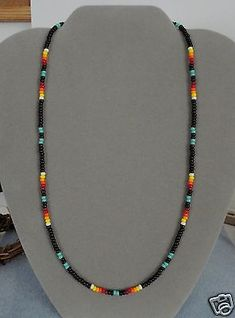 Turquoise + Black Beaded Mens, Womens Necklace ~ Native American Made ~Free Ship