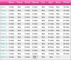 Basic marathon training schedule