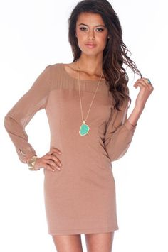 Kylie Contrast Shift Dress in Taupe