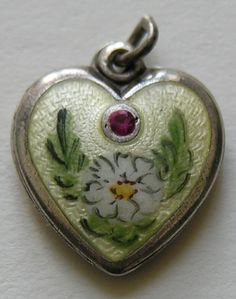Walter Lampl Enameled Sterling Heart Charm