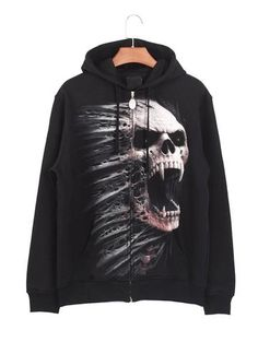 Zip Up Hoodie Skulls Military Star Hooded Sweatshirt for Men