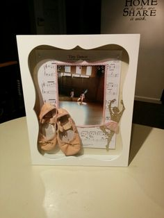 1st Pair of Ballet Slippers in a Shadow Box for Miss Victoria Sixx.