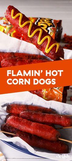 Flamin' Hot Cheetos Make The Crispiest Corn Dogs Corn Dogs, Dog Recipes, Cooking Recipes, Recipies, Corndog Recipe, Hot Corn, Meat Appetizers, Cheetos, Love Food