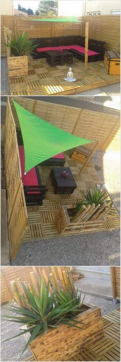 There could not be anything better than sitting outside with the beauty of nature on a lovely holiday. You can enjoy your solitude with nature on this perfect garden furniture. This garden sofa, table, deck or planter made with recycled wood pallets. No one can recognize at first sight that this beautiful piece has designed with recycled wood pallets having cute planter beside it.