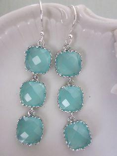 Light Aqua Blue Earrings Glass Earrings Sterling by laalee